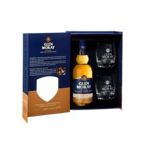 GLEN MORAY Chardonnay Cask Finish Single Malt Whisky coffret 2 verres