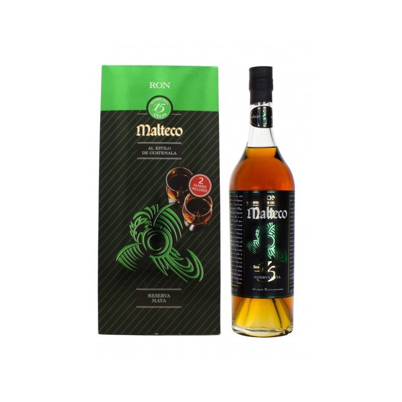 Coffret Malteco 15 ans Reserva Maya et deux verres